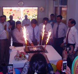 Mr. Qazi Awais Uddin, Chief Guest of the Cake Cutting Ceremony of 14th HiAST Raising Day